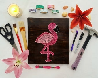 Pink Flamingo String Art Made to Order Home Decor