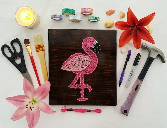 Pink Flamingo String Art Tropical Home Decor Or Housewarming