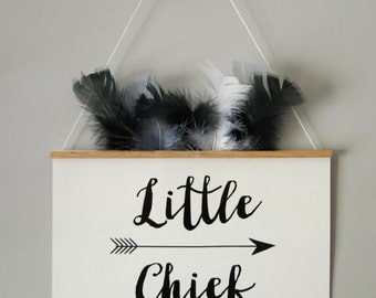 FEATHERED BANNER/ Little Chief /  Kids Room Decor/ Kids Wall Art / Nursery Wall Art / Pennant /