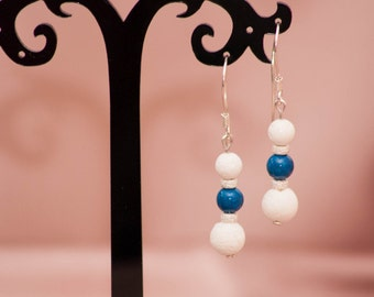 Silver earrings with marble and coral