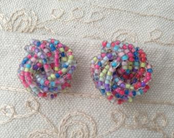 Beaded earrings, vintage beaded earrings upcycled to pierced earrings, pastel earrings, bead earrings, beaded earrings, knot earrings vintag