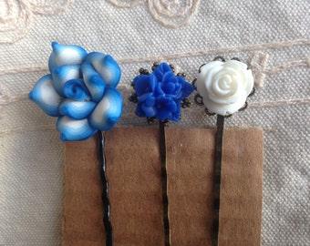 Blue Hair Pins, Decorative Hair pins, blue hair pins, flower hair pins, blue and white hair pins, blue hair pins, decorative hair pins, blue