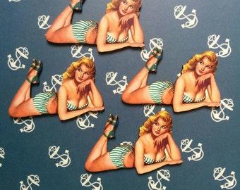BIKINI PIN UP - retro vintage 50s pin up girl brooch pin