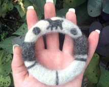 Alpaca Felted Bangle// Handmade// Natural Colors// Hypoallergenic