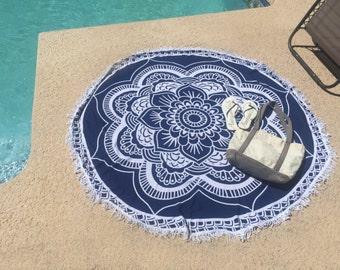 Navy Mandala Round Tapestry