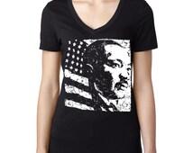 MLK Martin Luther King Day USA American Flag T-Shirt V-Neck Tshirt