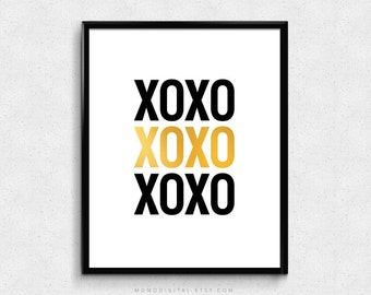 SALE -  XOXO, Gossip Girl, Hugs And Kisses, Valentine, Gold Foil, Faux Gold Foil, Metallic, Typographic Quote, Love Poster, Modern
