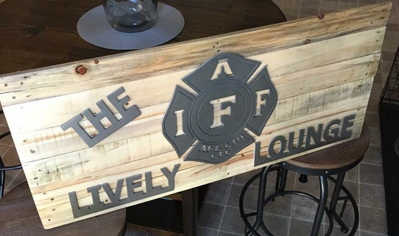 Firefighter Man Cave Signs : Custom firefighter personalized man cave rustic