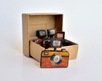 Camera Pin / Photography Brooch (Laser Cut & Hand Painted)