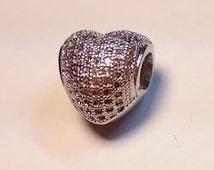 1 Silver Pave Heart European Bead Charm Fits Pandora Bracelets Fashion Jewelry Austrian Crystals