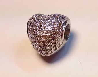 1 Silver Pave Heart European Bead Charm Fits Charm Bracelet Fashion Jewelry Austrian Crystals - 14B