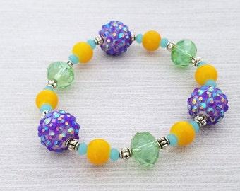 Sparkly Bead Girl's Bracelet Jewelry for Girl Beaded Elastic Bracelet Girl's Bead Bracelet Stretch Bracelet Mixed Bead Bracelet for Girl