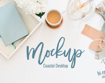 Styled Stock Photography | Nautical Accents Styled Feminine Desktop Mockup | Product Photography | Digital Image | Coastal High Res Photo