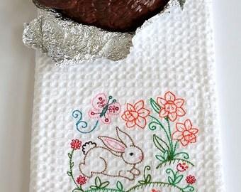 Vintage Easter Bunny kitchen towel gift for 10 dollars