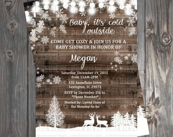 Rustic Winter Baby Shower Invitation/Book Request Card