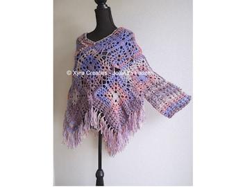 PATR1080 - Xyra Crochet-pattern - Poncho with sleeves / sweater / shirt / swoncho - (Dutch & English-US)