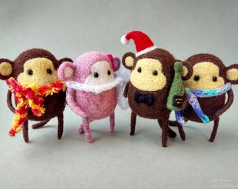 Felted toy. Monkey. Symbol of this year.