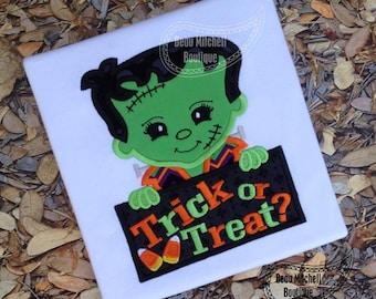 Frankenstein Trick or Treat, Halloween Shirt Embroidered Toddler T-shirt, Embroidered T-shirt