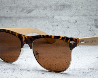 Rock & Roll - Tortoise Clubmaster Eco-friendly Bamboo Sunglasses