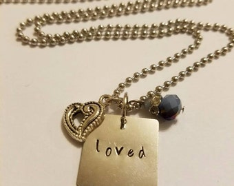 Necklace, Loved Necklace, Heart Necklace, Hand Stamped Metal Necklace, Stamped Necklace Loved, Metal Square Necklace, Loved Charm Necklace
