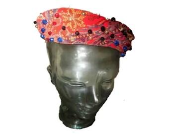 Vintage Red Velvet beaded Paisley Pill Box Hat