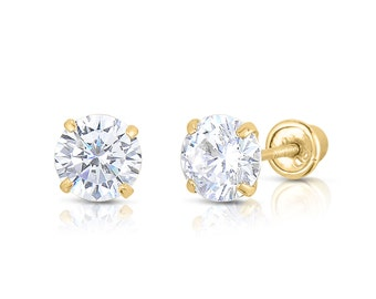 2MM-8MM Round Clear CZ 14K Solid Yellow Gold Stud Earrings Basket Set Screw Back