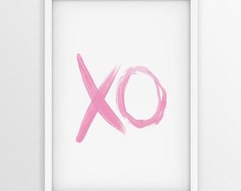 Pink XO paint brush Print, Valentine Typography Art, Scandinavian Printable Art, Hugs And Kisses, Wall Art, Printable Typography, Minimalist