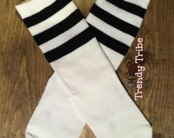 Tube Socks-White Socks with black Stripe Tube Sock Knee High Socks-knee high socks-knee Highs-Toddler socks 1-3 years old