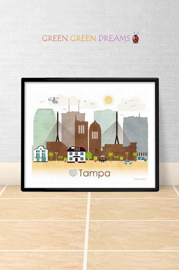 Tampa Poster Print Wall Art Tampa Florida By Greengreendreams: home decor tampa