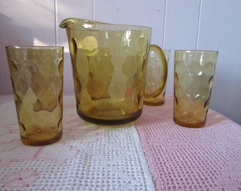 Vintage pitcher with 5 glasses Hazel Atlas Eldorado Mid Century / Vintage pitcher with 5 glasses Hazel Atlas Eldorado Mid Century