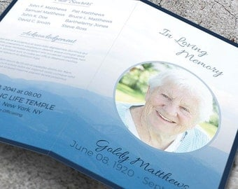 Memorial Service Template, Funeral Service Template, Funeral Brochure, Instant Download Funeral Template
