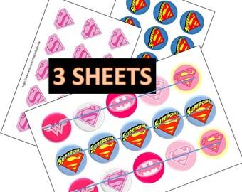 supergirl pink  4x6 printable bottlecap images bottle cap