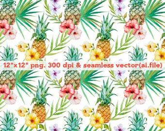 Watercolor tropical fruit and plants seamless vector Clipart, Digital Download ,Quotes Scrapbooking, Supplies, esp format file