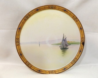 Antique 1910s Nippon Sailing Boats Porcelain Plate Hand Painted Morimura Green Wreath Mark 8.5 inch