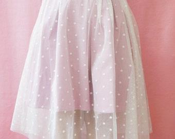 Tutú tulle skirt, romantic skirt, women, handmade, polka dots,