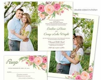Photoshop Template - Spring Flowers Wedding Invitation - Photo Card 252