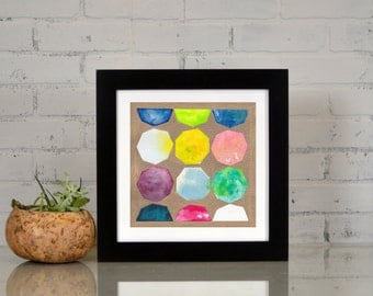 Watercolor Octagons + Bronze Art Print