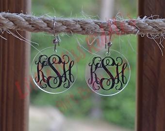 Monogram Acrylic Disc Dangle Earrings