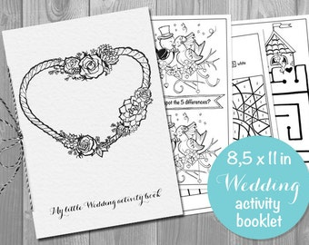 Wedding Activity coloring Book Booklet for Kids - Printable pdf - Children's Activity Sheets- Printable 8.5x11 PDF File