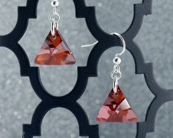 Red Triangle Crystal Earrings - E-2638