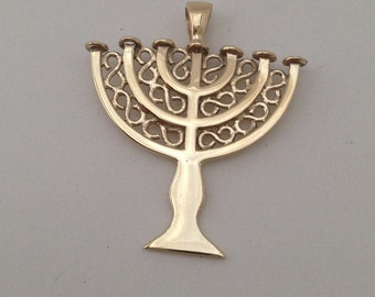 9ct Gold Menorah Pendant