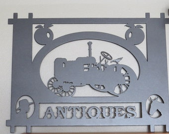 Plasma Cut Metal Sign,Antiques Sign,Antique Tractor,Metal Art,Wall Decor,Wall Art,Antique Store,Farmhouse decor,Country,HomeDecor,Farm LIfe