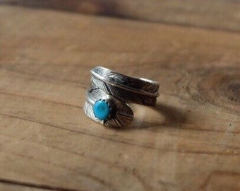 Sterling silver 925 feather ring with turquoise ( hand crafted )