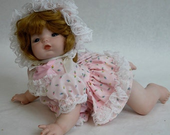 "One of a Kind Obeda's Handmade 13"" Porcelain Crawling Baby Doll"