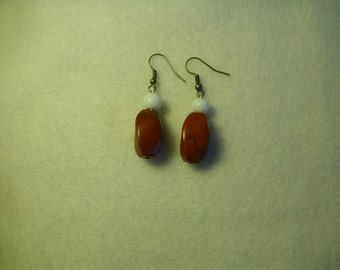 Wire Earrings with Red Stone and White Bead