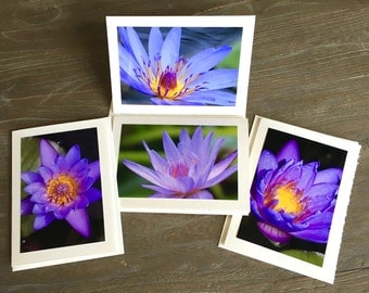 Water Lilies; Flower Photo card; Set of 4 Photo Cards; Purple Blue Water Lilies Photo Cards