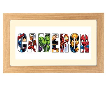 MARVEL SUPERHEROES SQUAD Personalised Name Print Art - Marvel - Spiderman - Thor - Hulk - Captain America - Iron Man - Flash