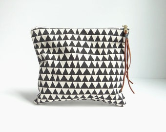Hand Printed Triangle Clutch