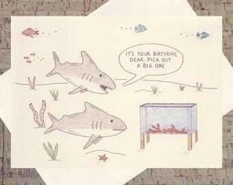Funny Birthday Card, Husband Birthday, Wife Birthday, Foodie Card, Lobster Card, Shark Card, Birthday Card, Ocean Card, Nautical Card