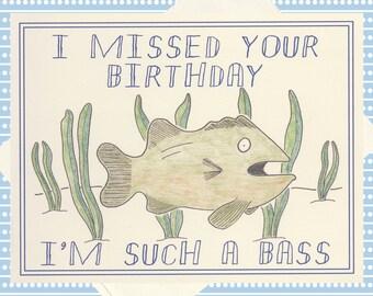 Fish birthday card etsy for Fishing birthday wishes
